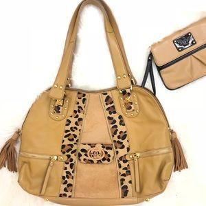 Sharif Cheetah Print Shoulder Bag & Small Clutch